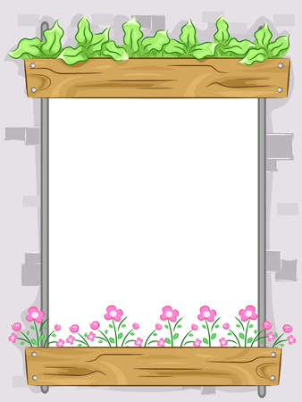 supporting: Frame Illustration Featuring a Window Supporting a Vertical Garden