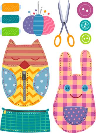 kit de costura: Ilustración con elementos de costura coloridos