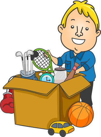used: Illustration of a Man Packing Used Sports Equipment to be Donated