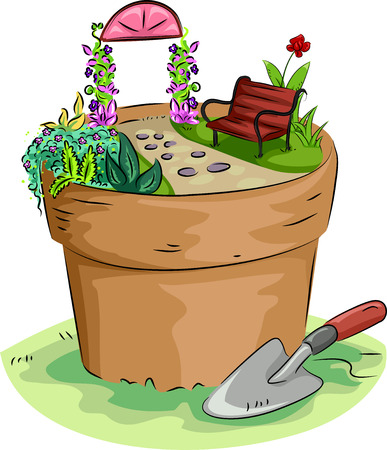 built: Illustration of a Miniature Garden Built on Top of a Pot Stock Photo