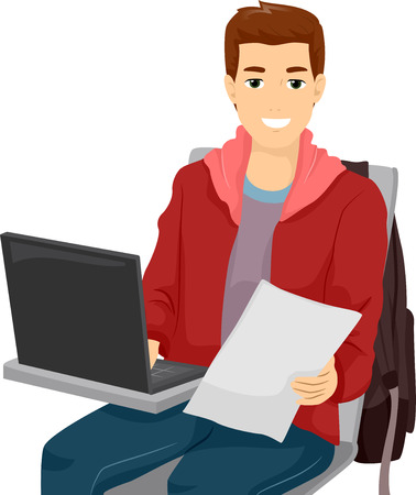 high school: Illustration of a Male Student Using His Laptop in Class Stock Photo
