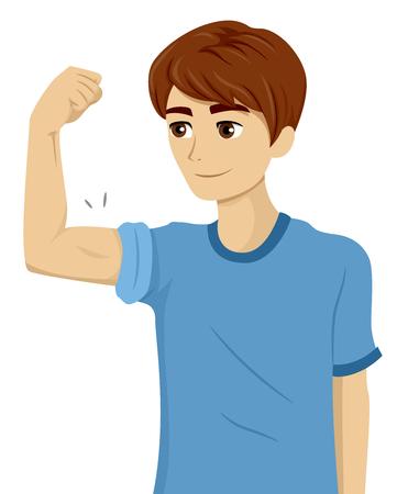 思春期の彼の上腕二頭筋のチェックを受けている 10 代の男のイラスト