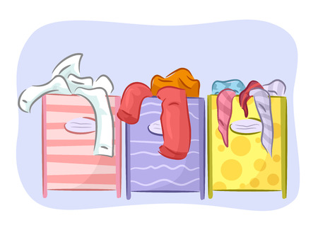 homemaking: Illustration Featuring Different Colored Hampers for Sorting Laundry Stock Photo
