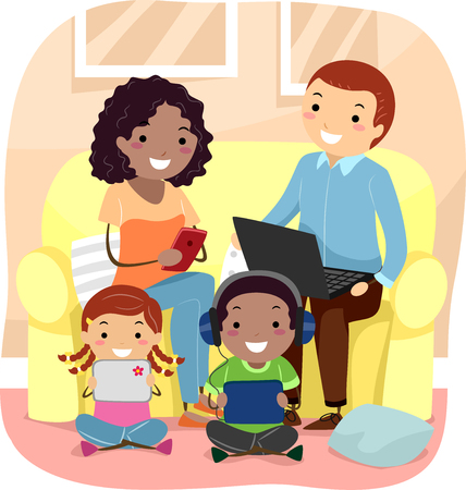 family living room: Stickman Illustration of a Family Using Their Individual Gadgets in the Living Room