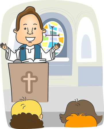 cleric: Illustration of a Priest Preaching from the Pulpit