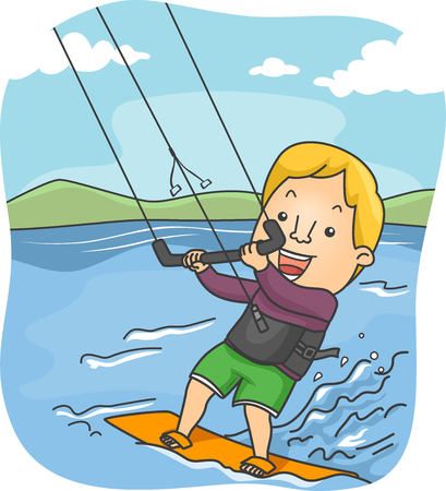 kiting: Illustration of a Male Kite Surfer Riding the Waves Stock Photo