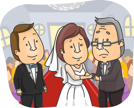 father of the bride: Illustration of a Sad Father Giving Away His Daughter at Her Wedding