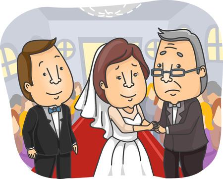 padre e hija: Ilustración de un padre triste regalar a su hija en su boda