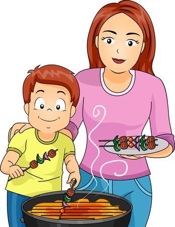 barbecues: Illustration of a Mother and Son Grilling Barbecues Stock Photo
