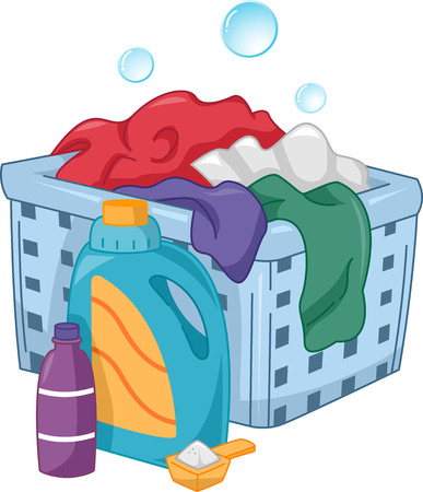hamper: Illustration of Bottles of Laundry Detergent Sitting Beside a Laundry Hamper