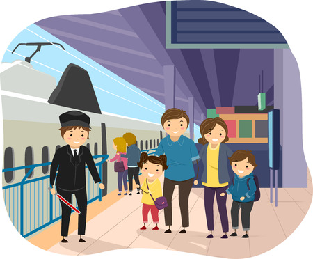 family illustration: Stickman Illustration of a Family at a Train Station