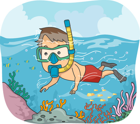 man underwater: Illustration of a Man Wearing a Snorkel and Goggles Checking Corals
