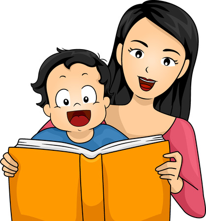 storybook: Illustration of a Mother Reading a Book to Her Son