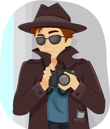 Illustration of a Teenage Boy Dressed in a Detective Costume Banco de Imagens