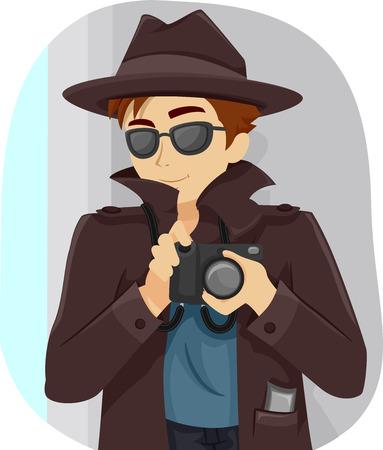 Ilustración de un adolescente Vestido con un traje de detective