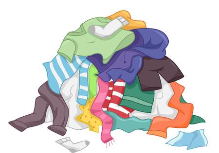 汚れた洗濯物の乱雑な杭の特徴図