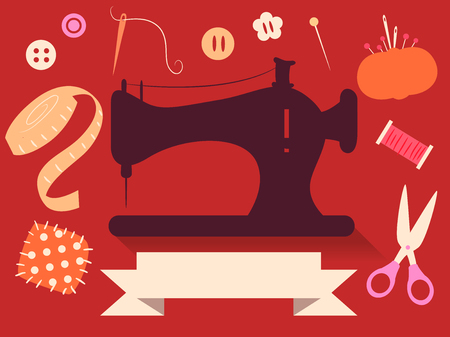 sewing materials: Flat Illustration Featuring Cute Sewing Elements