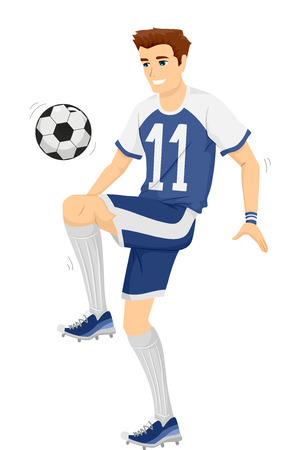 costume ball: Illustration of a Man in Soccer Costume Practicing with a Ball