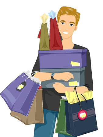 commercialism: Illustration of a Man Carrying Stacks of Boxes and Shopping Bags Stock Photo