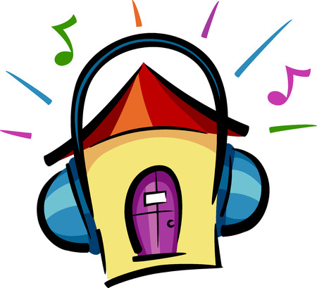 loud music: Illustration of a House Featuring Headphones Blasting Loud Music