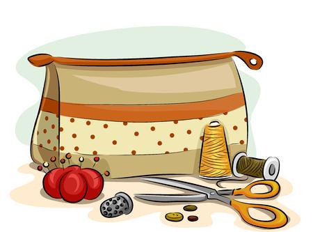kit de costura: Ilustración con materiales de costura repartidos por todo un kit de costura