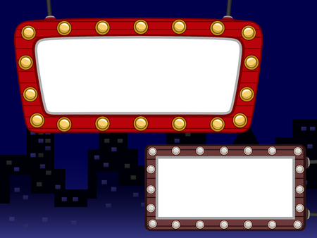 clipart street light: Illustration Featuring a Blank Street Sign Lined with Light Bulbs