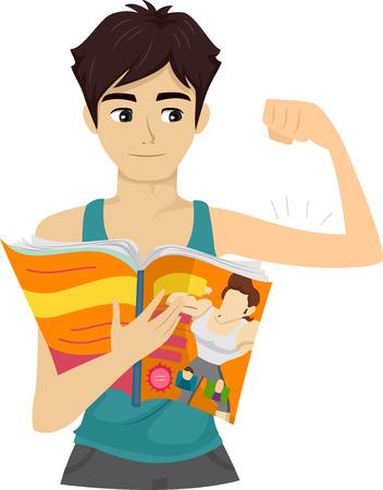 Ilustración de un individuo adolescente que doblar su bíceps mientras lee una revista Foto de archivo - 55880152