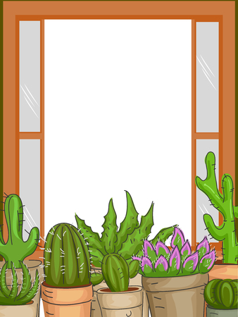 Frame Illustration Featuring Succulents Placed by the Window Sill Stock Photo