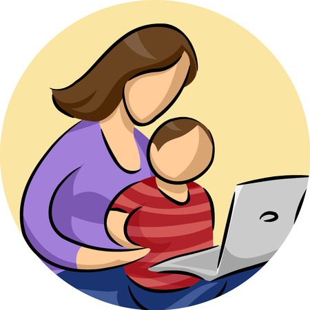laptop icon: Illustration of a Son Watching His Mom Using a Laptop