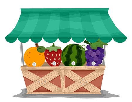 fruit market: Illustration of a Market Stall with Fruit Shaped Juice Dispensers