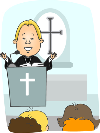 preaching: Illustration of a Protestant Priest Preaching from the Pulpit
