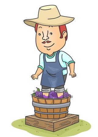 葡萄の樽からワインを作る男の図