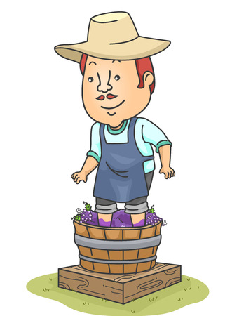 crush: Illustration of a Man Making Wine from a Barrel of Grapes