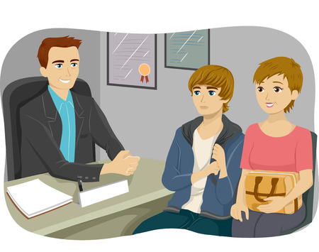 mom and son: Illustration of a Mother and Son Listening to a Guidance Counselor Stock Photo