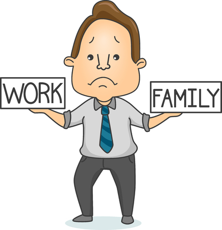 duties: Illustration of a Sad Man Trying to Find Balance Between Work and Family Duties Stock Photo