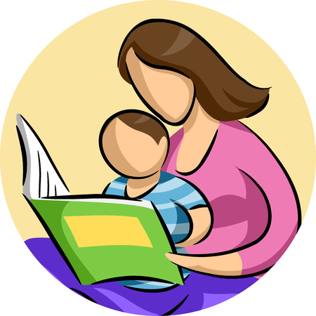 storybook: Illustration of a Mother Reading a Storybook to Her Son