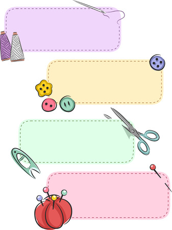 threads: Banner Illustration Featuring Colorful Sewing Notions