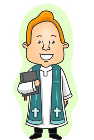 enseñanza: Ilustración de un cura con sotana Llevar una Biblia