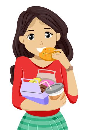 teenage girl: Illustration of a Teenage Girl Eating Donuts