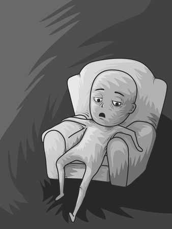 boredom: Illustration of a Lazy Man Slouching on the Couch