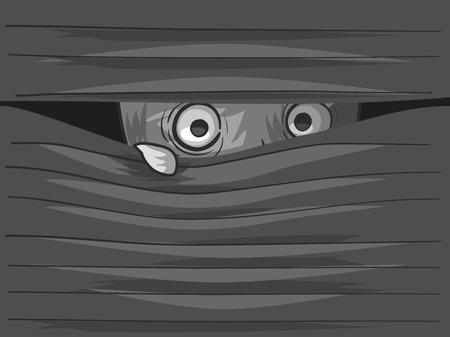 Illustration of an Agoraphobic Man Peeking from Behind His Venetian Blinds 写真素材