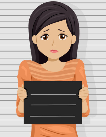 scared: Illustration of a Scared Teenage Girl Posing for a Mug Shot Stock Photo