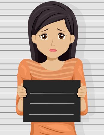 Illustration of a Scared Teenage Girl Posing for a Mug Shot Stock Photo