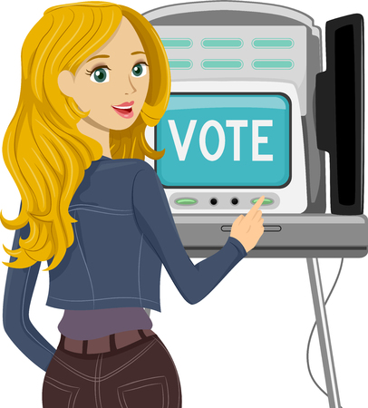 computerized: Illustration of a Teenage Voter Casting Her Vote Stock Photo