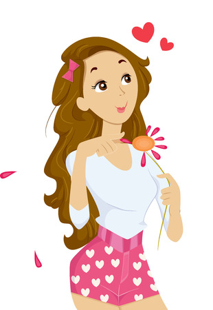 female pink: Illustration of a Teenage Girl Plucking Petals Off a Daisy Stock Photo