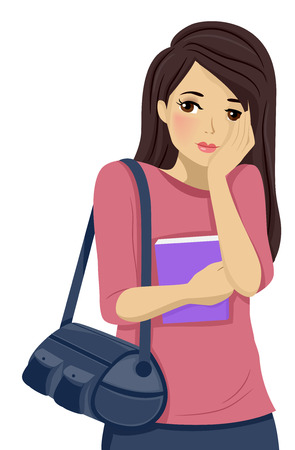 shy: Illustration of a Shy Teenage Girl Blushing
