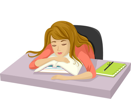 Illustration of a Teenage Girl Who Have Fallen Asleep After Studying Banco de Imagens