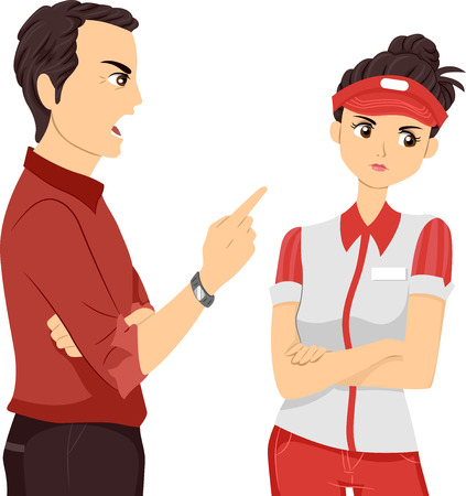 sermon: Illustration of a Female Teenage Part Time Worker Being Scolded by Her Supervisor Stock Photo