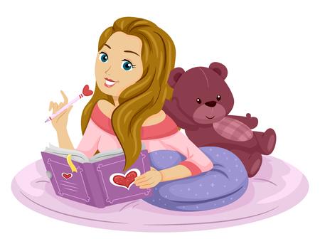 teenage girl: Illustration of a Teenage Girl Writing on Her Diary