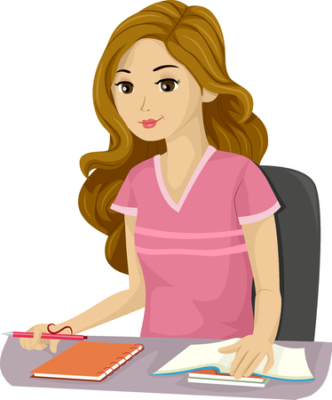 girl studying: Illustration of a Teenage Girl Studying
